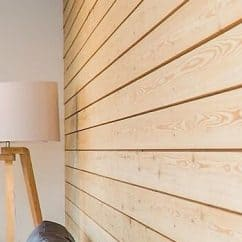 Larch wall panelling